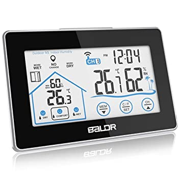 Fernbedienung Funk Drinnen Draußen Wettermessung Wecker Thermometer Zeitanzeige
