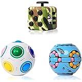 CONQLOAD Fidget Blocks Toys Sets.Magic Rainbow Puzzle Ball,dice 6 Sides Cube,3D Puzzle Hamburger Rotation Magic Cube Ball.Anx
