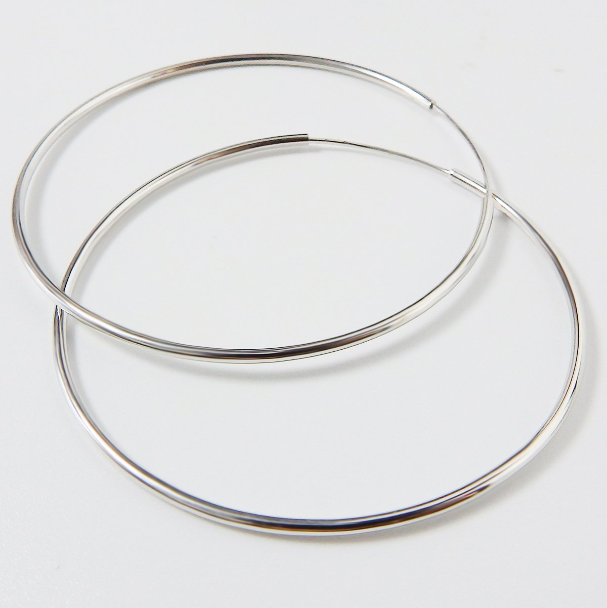 IDoy 925 Sterling Silver Hoop Earrings - Simple Polished Large Round Earrings for Women 50mm by IDoy (Image #3)
