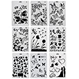 CCMART Plastic Drawing Painting Stencil Templates Set of 9 with Butterfly, Flowers, Birds, Figures, Animal Shape, Heart Shape Pecfect for Notebook/Diary/Scrapbook/Journaling/Card DIY Craft Project