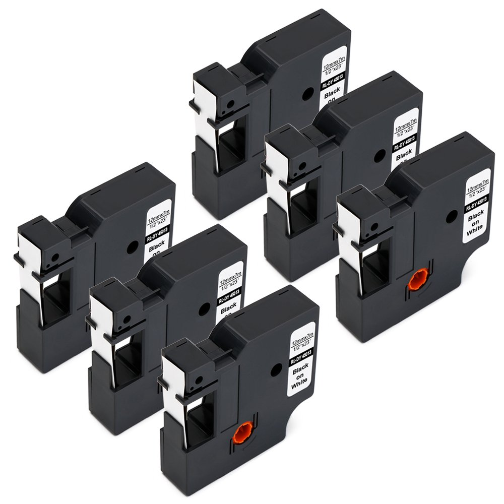 Jofoce Compatible DYMO D1 45013 S0720530 Black on White Label Tape 1/2 inch x 23 Ft, Work with DYMO LabelManager 160, 210D, 210D Kit, 260P, 280, 360D, 420P, 450D, Wireless PnP, 500TS, 450DUO