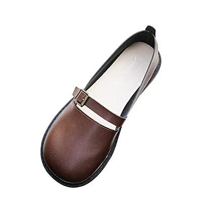 CHNHIRA Womens Casual Cool Flat Leather Hasp shoes
