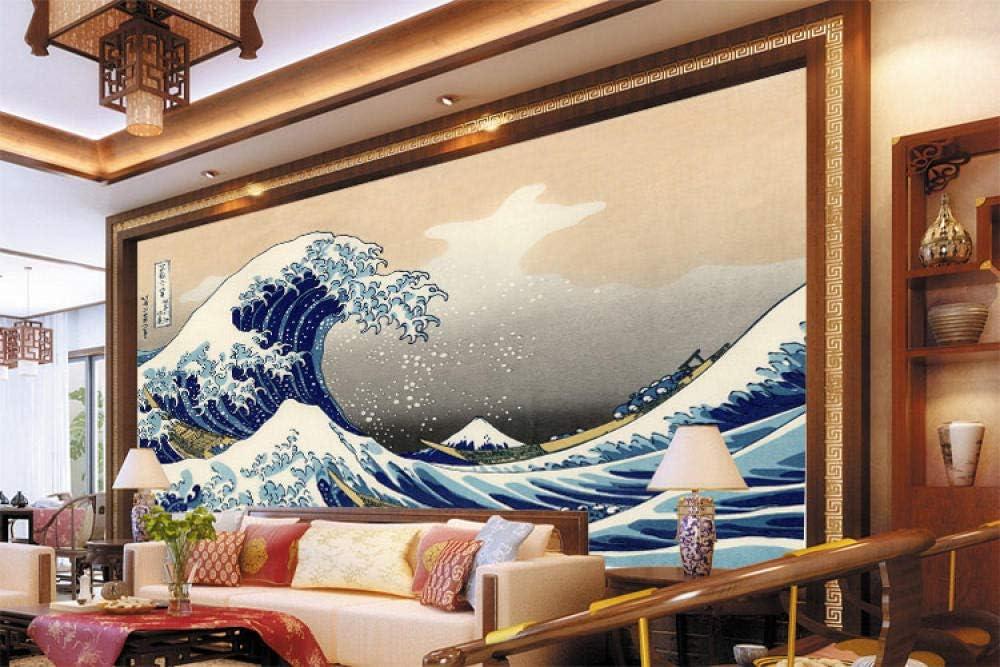 LIVEXZ DIY,papier peint 3D Autocollant Tapisserie Photo intiss/é tableaux La nature Chambre Bureau Couloir d/écoration Peinture//Japon ukiyoe