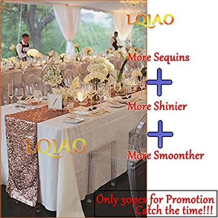 Amazon Lqiao Sequin Table Runner 12 By 72 Inch Rose Gold