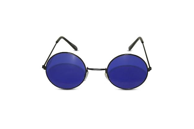 865621ba2672 Amazon.com: John Lennon Sunglasses Round Hippie Shades Retro Colored Lenses  Retro Party (Black frame w/ Blue Lens): Shoes