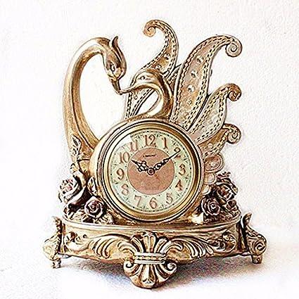 Regalo de navidad Swan par relojes relojes antiguos fashion creative adornos decorativos en el salón reloj