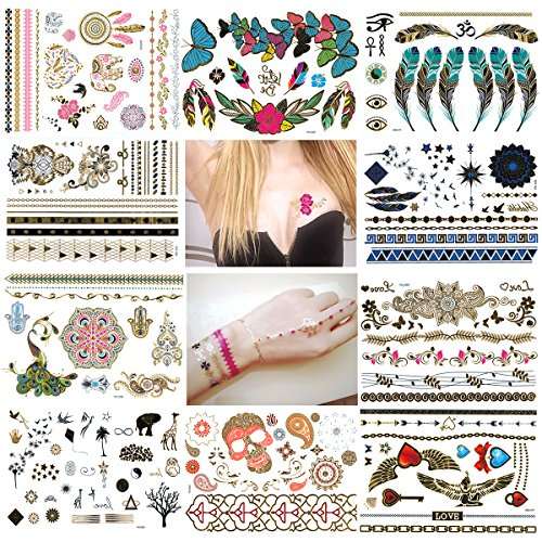 NUOLUX Temporary Tattoos Flash Tattoos 10 Sheets Waterproof (Henna Press On compare prices)