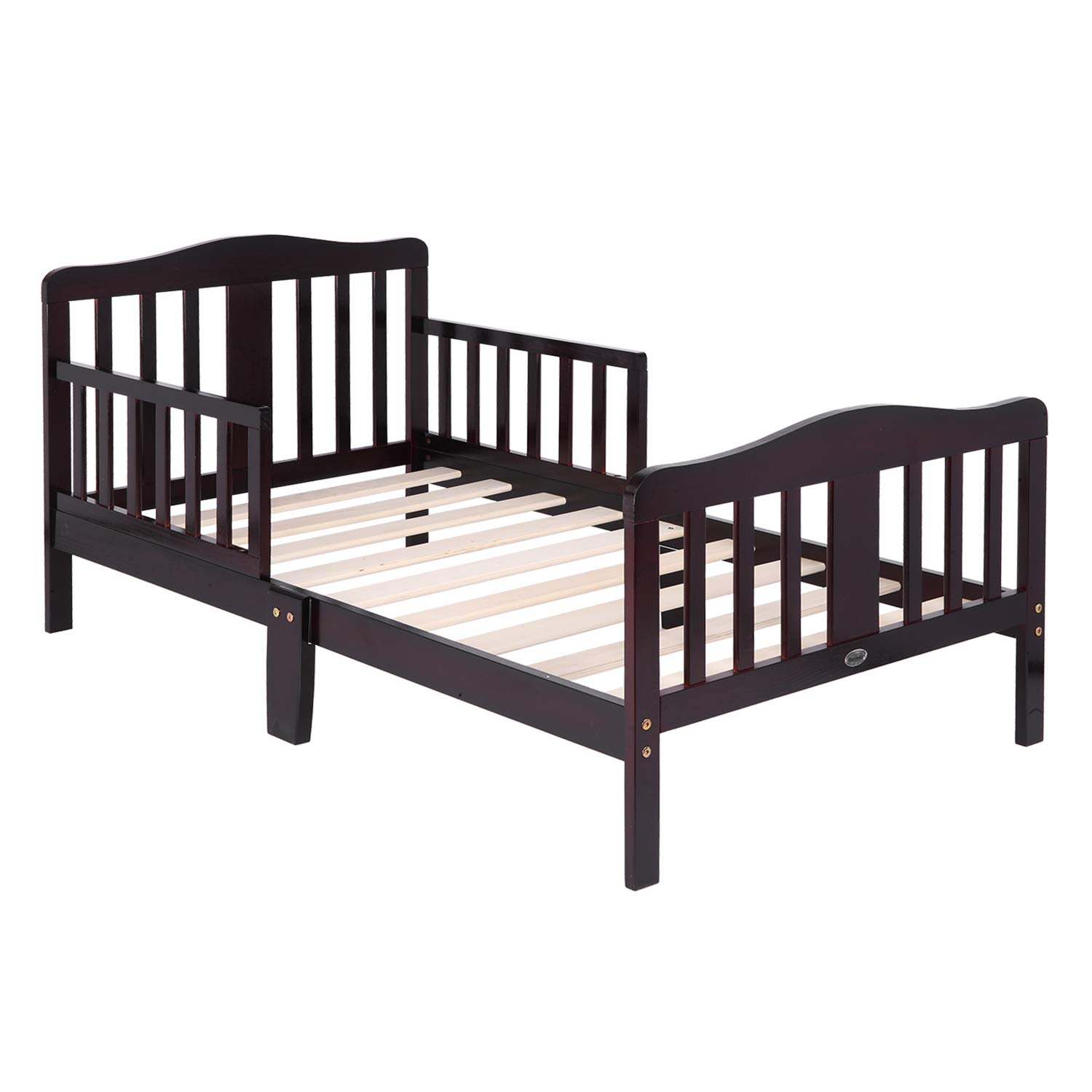 Bonnlo Toddler Bed with Safety Rail Fence for Boy and Girl, Dark Cherry by Bonnlo