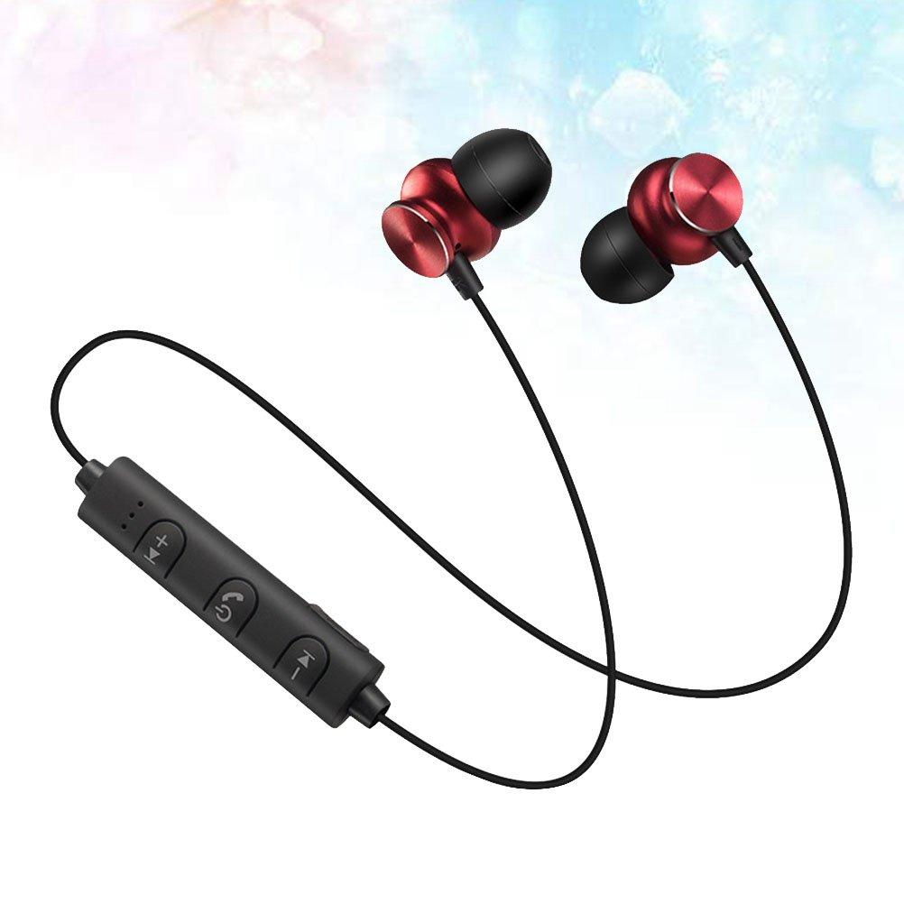 Rouge Antisueur cours Earbud st/ér/éo subwoofer Super Bass Casque 4.2//Écouteurs intra-auriculaires avec micro appel mains libres vocale LEDMOMO casque sans fil