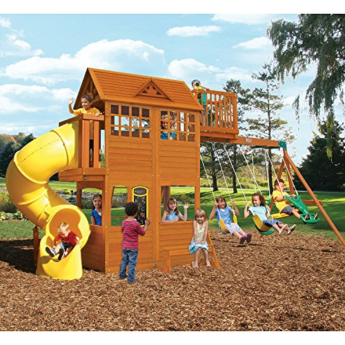 Kids Outdoor Adventure Clubhouse with Twist N' Ride Tube Slide Swing Set, Play House, Upper Deck by Cedar Summit