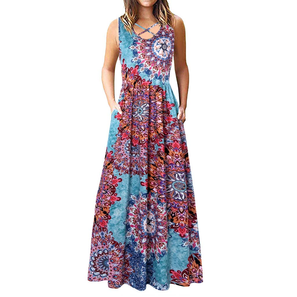 bluee Sayolala Womens Dresses Casual Sleeveless Loose Plain Long Maxi Dress Sundress