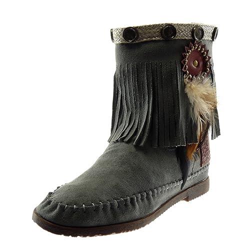 Angkorly - Zapatillas Moda Botines Botas Botas Mocasines Folk Slip-on Mujer Fleco Pluma Tachonado Tacón Ancho 1.5 CM: Amazon.es: Zapatos y complementos