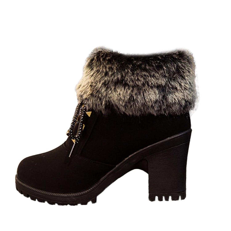 Inkach Women Martin Boots Winter Snow Boots High Heels Faux Fur Ankle Shoes Side Zipper
