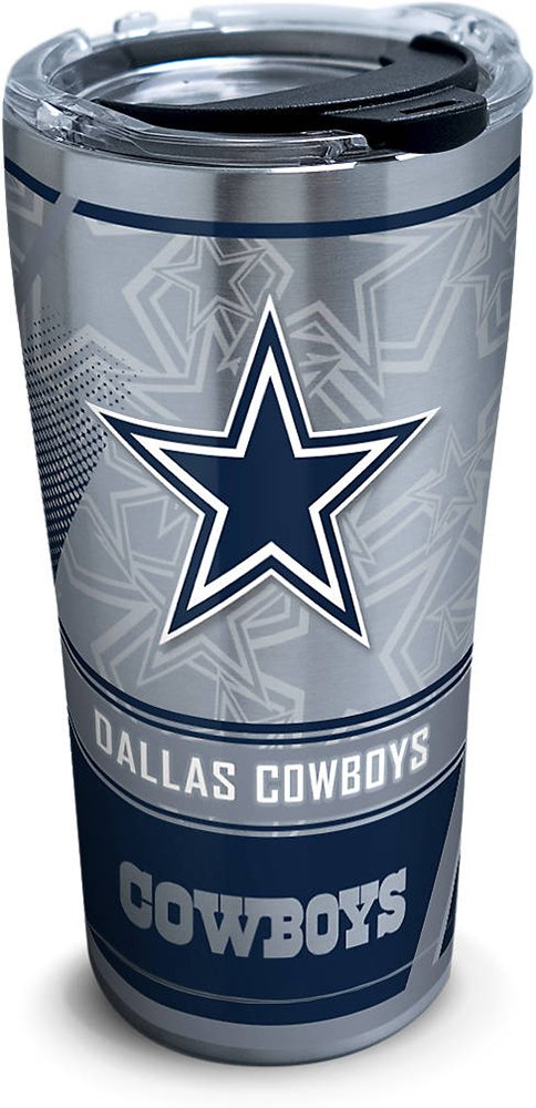 Tervis 1266716 NFL Dallas Cowboys Edge Stainless Steel Tumbler with Clear and Black Hammer Lid 20oz, Silver by Tervis