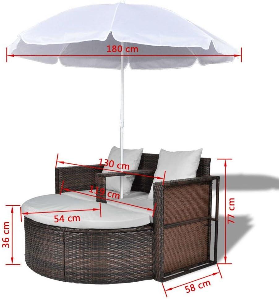 Tidyard Conjunto Muebles de Jardín con Parasol,Sofa Exterior ...