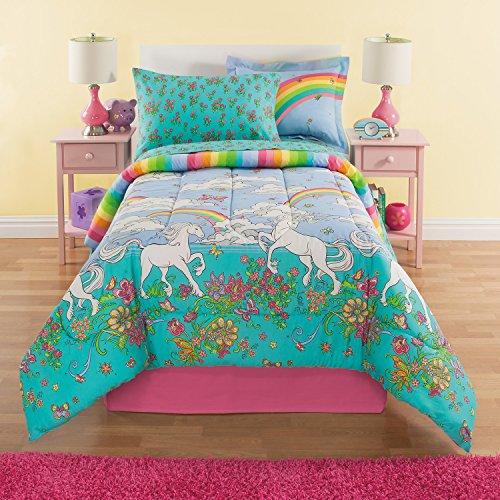 Rainbows & Unicorns Girls Twin Comforter Set (6 Piece Bed In A Bag) + HOMEMADE WAX MELT