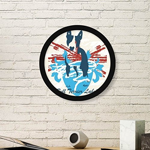 DIYthinker Graffiti Street Culture Red Blue Bull Terrier Design Art Illustration Pattern Round Simple Picture Frame Art Prints of Paintings Home Wall Decal