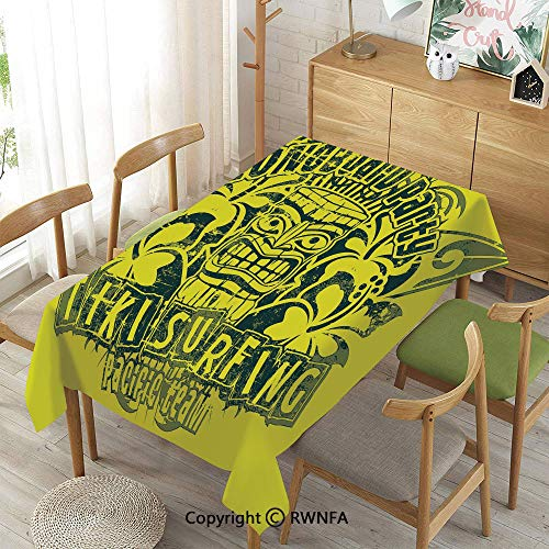 Homenon 100% Polyester Tablecloths for Rectangle Tables,Tiki Surf Team Longboard Party Grungy Display Hibiscus Flora Art Decorative,Indoor Outdoor Camping Picnic, Green Dark Green,52