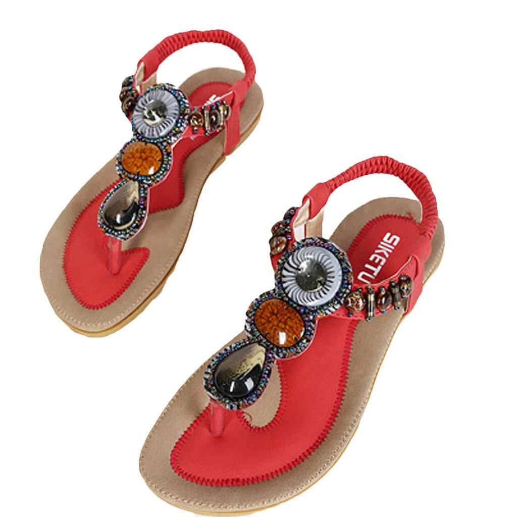 Sanyyanlsy Women Bohemian Gemstone Sandals Flip Flops Flat Sandals Ankle Strap Elastic Strap Sandals Summer Daily Wear Red by Sanyyanlsy