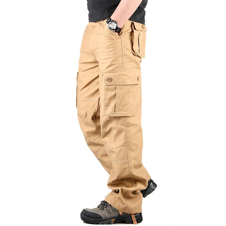 TOPING Fine Men's Cargo Pants Casual Mens Pant Multi Pocket Military Overall Men Outdoors Long Trousers 30-44 Plus Size Khaki34