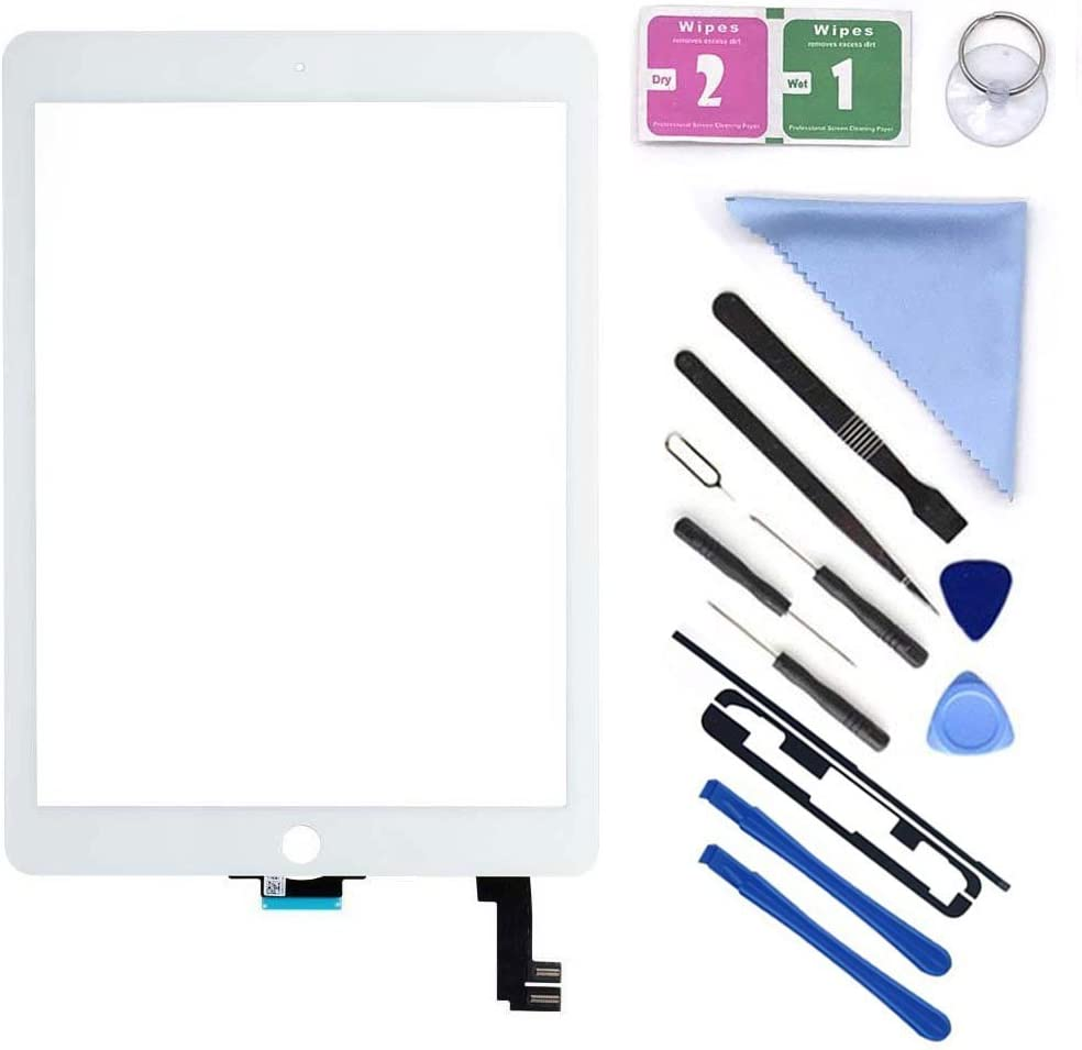 """First Choose New Glass Touch Screen Digitizer Replacement for iPad Air 2 9.7"""" 2nd Gen A1566 A1567 and Pre-Installed Adhesive with Repair Tools Kit (Without Home Button,Not Include LCD) (White)"""
