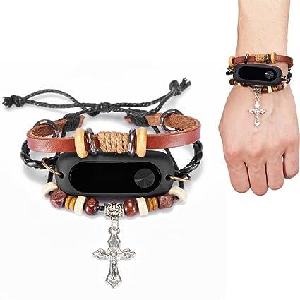 Malloom Correa de pulsera de cuero multicapa reemplazo para Xiaomi Mi Band 2 Smart Wristband (Marrón)
