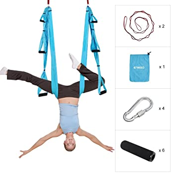 enkeeo aerial yoga hammock swing trapeze set anti gravity ultra strong and  fortable bears 400lbs enkeeo aerial yoga hammock swing trapeze set anti gravity ultra      rh   amazon co uk