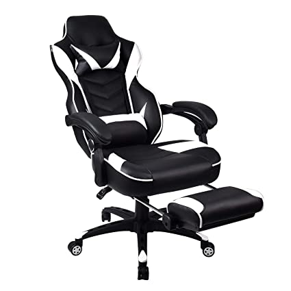 Stupendous White Racing Gaming Chair High Back Pu Leather Task Chair Ergonomic Computer Video Office Chairs Adjustable With Footrest Lumbar Ncnpc Chair Design For Home Ncnpcorg