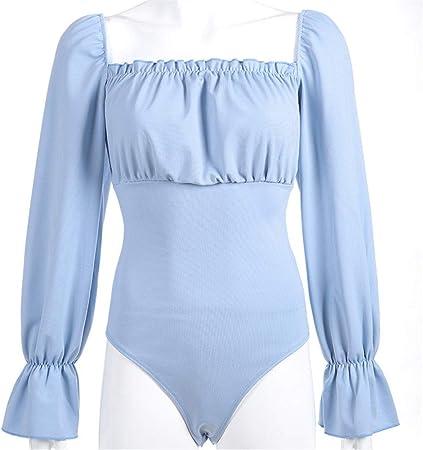 Body Mujer Mujeres Una pieza Puff Manga larga Cuello cuadrado Liso Body Camisa Blusa Top Con