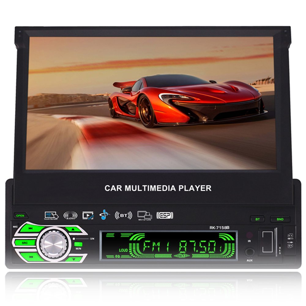 FiveFour 7.0-Inch Single Din In-Dash Flip Out Touch Screen Car Stereo with Rear View Camera Support USB/SD/MP3/MP5/FM/AM Bluetooth,Touchscreen,Wireless Remote by FiveFour