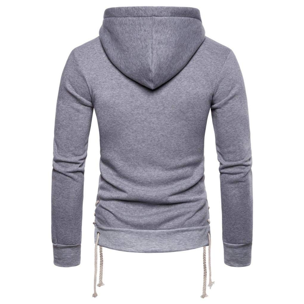 kaifongfu Hooded, Mens Long Sleeve Bandage Hoodie Pullover Outwear TopsGrayXL by kaifongfu-mens clothes (Image #3)