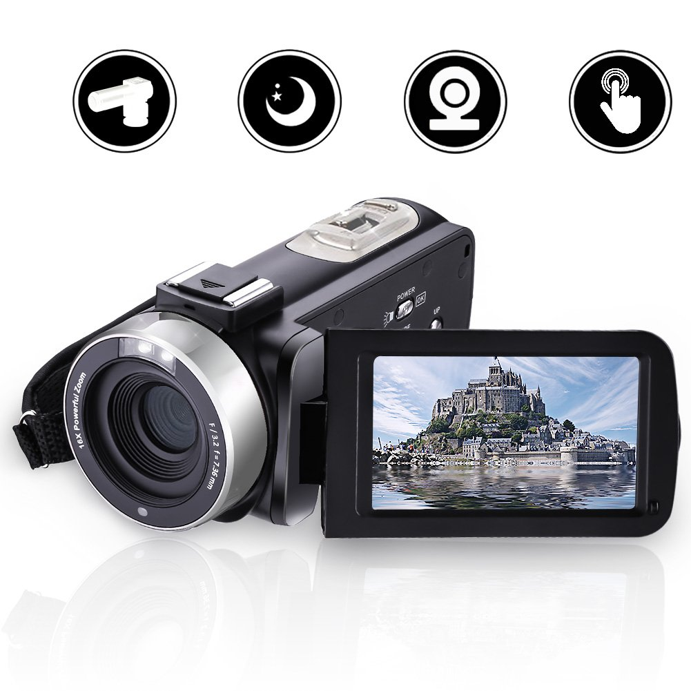 Camcorder Video Camera Full HD 1080p 24.0MP Digital Camera External Microphone Video Recorder Night Vision Webcam with Remote Control by COMI (Image #1)