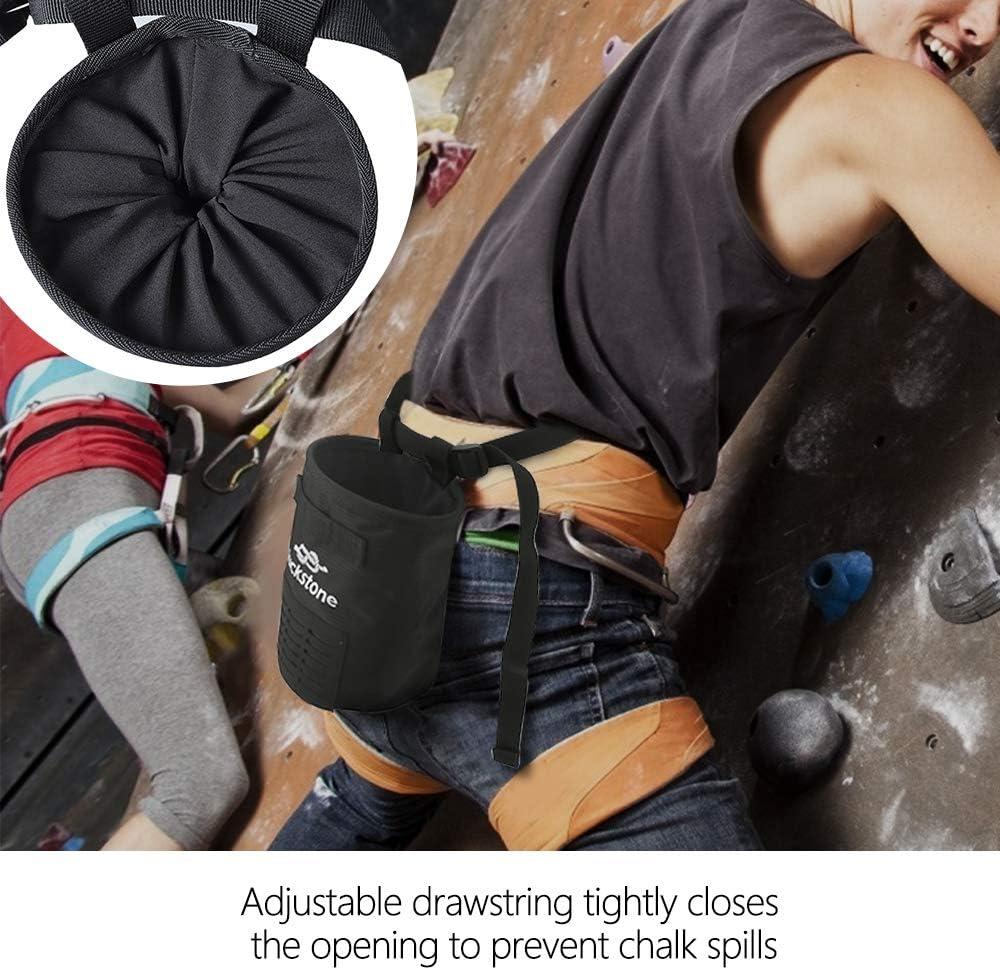 E-More - Bolsa de Tiza para Escalada, Bolsa de Tiza para Escalada, Impermeable, Bolsillo de magnesio con cordón y cinturón de Cintura Ajustable para ...