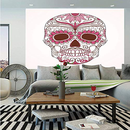 - SoSung Sugar Skull Decor Removable Wall Mural,Mexican Ornaments Calavera Catrina Inspired Folk Art Macabre Decorative,Self-Adhesive Large Wallpaper for Home Decor 66x96 inches,Pink Light Pink White