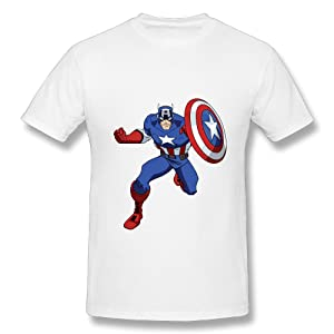 HM Men's Tshirt Comic Captain America Size 3X White