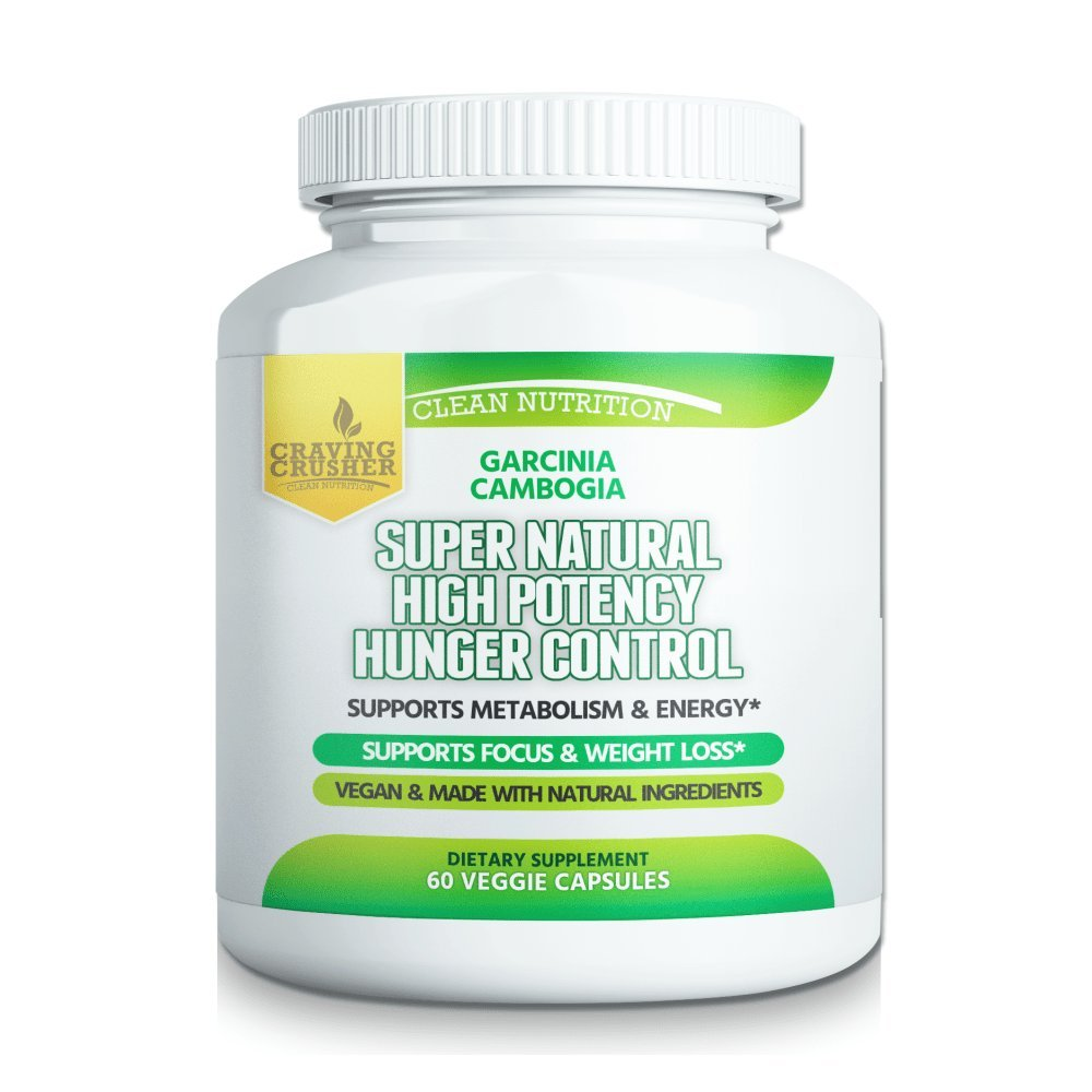 Craving Crusher Supernatural Hunger Control Supplements - Garcinia Cambogia, Raspberry Ketone and Green Coffee Bean Diet & Weight Loss Pills (60 Capsules)