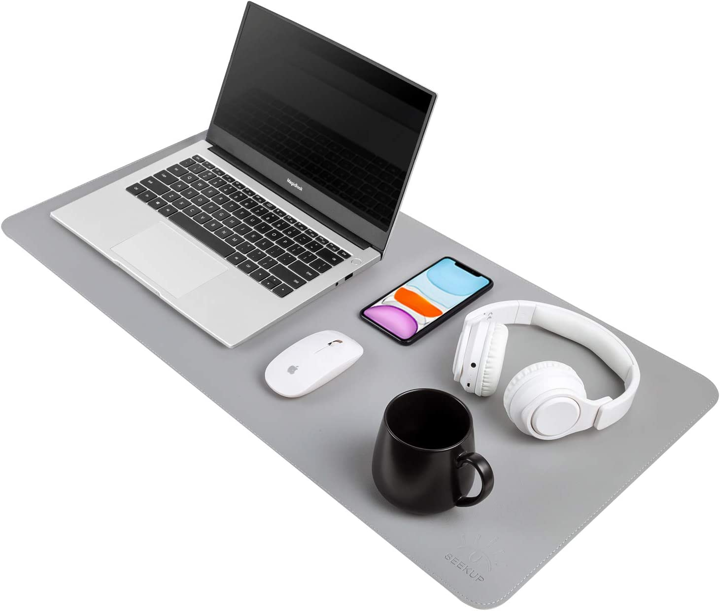 """Gray/Silver Dual Sided PU Leather Desk Pad, Upgrade Sewing Office Laptop Mat, Waterproof Large Mouse Pad, Non-Slip Writing Mat Desk Blotter Protector for Office/Home, 31.5""""x15.7"""""""