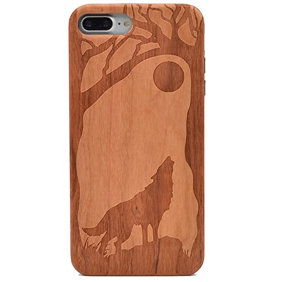 buy popular b3a00 a1759 iPhone 7 Plus Wood Case Wolf Full Moon Howling Wolves Handmade Carving Real  Wood Case Wooden Case Cover with Soft TPU Back for Apple iPhone 7 Plus