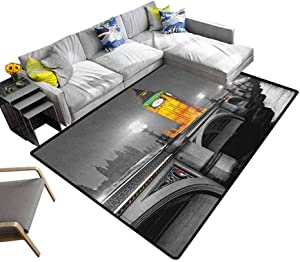 London Carpet The Big Ben and The Westminster Bridge at Night in UK Street River European Look Office Floor Mats for Carpet Grey Yellow (4'x6')