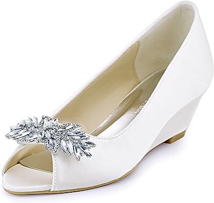 Elegantpark Zapatos de Vestir de sat/én Mujer