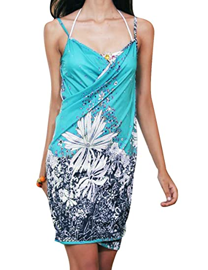 ec5bc0d49a4c9 Sexyshine Women's Sexy Spaghetti Strap Backless Floral Printed Beach Dress  Bikini Cover up