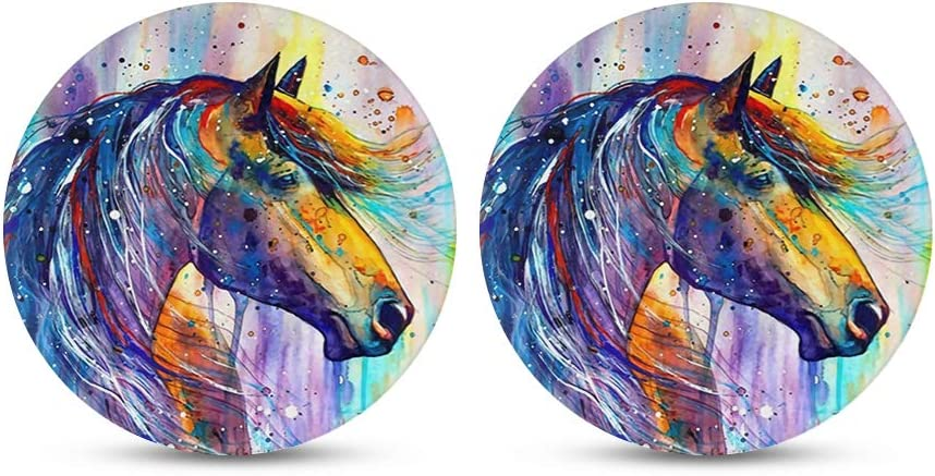 FKELYI Fashable Car Cup Coaster for Water Bottom Rainbow Tie-Dye Art Print Auto Universal Cup Holder Coaster Fit All Weather Thick Cup Mats Set of 2Packs