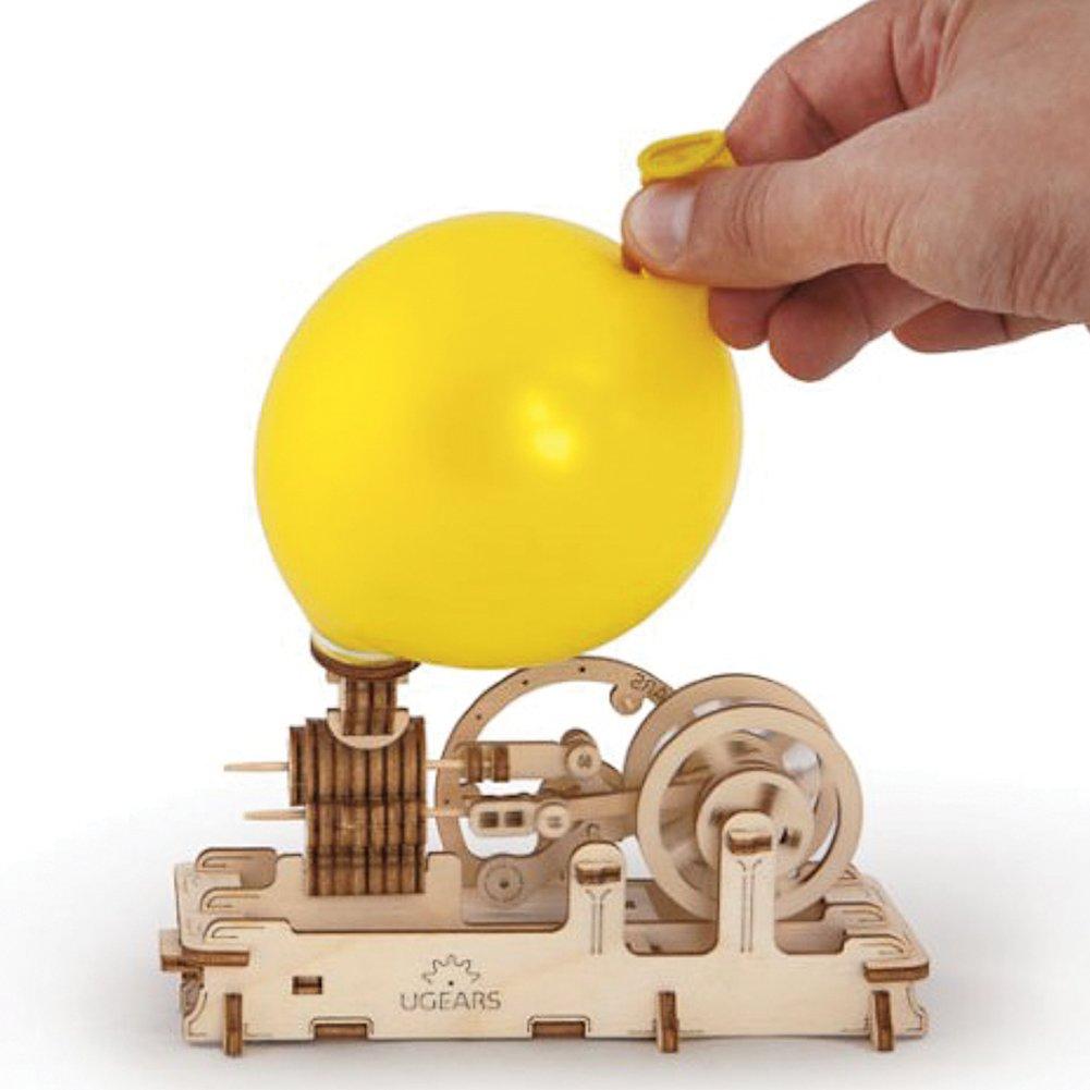 Balloon Air Pressure Pneumatic Piston Motor UGEARS Ukrainian Bridge Wooden 3D Engine Model Kit