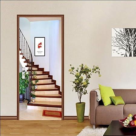 PVC Adhesivo Fotográfico Pegatina Vinilos para Puerta Pared Cocina Sala De Baño,Escaleras De Madera,77Cmx200Cm: Amazon.es: Hogar