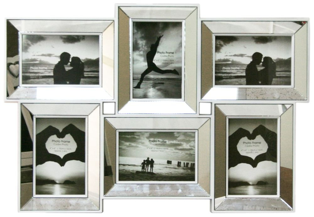 multi aperture mirrored 4 x 6 photo frame 6 picture frames amazoncouk kitchen home - Mirror Picture Frames