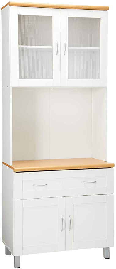 Amazon Com Hodedah Tall Standing Kitchen Cabinet With Top And Bottom Enclosed Cabinet Space 1 Drawer Large Open Space For Microwave In White China Cabinets