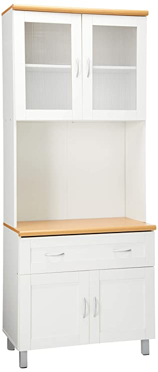Hodedah Tall Standing Kitchen Cabinet With Top And Bottom Enclosed Cabinet Space 1 Drawer Large Open Space For Microwave In White