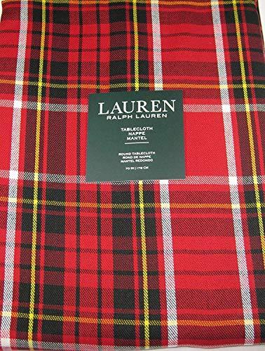 Ralph Lauren Gretchen Tartan Plaid Tablecloth Red 70 Round