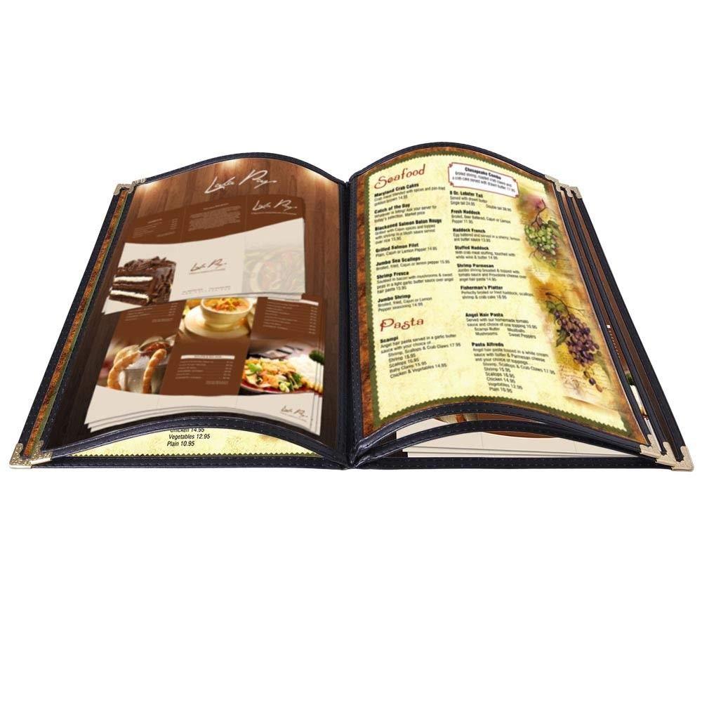 Restaurant Menu Cover Folder 10 page View 8-1/2''x14'' 20pcs