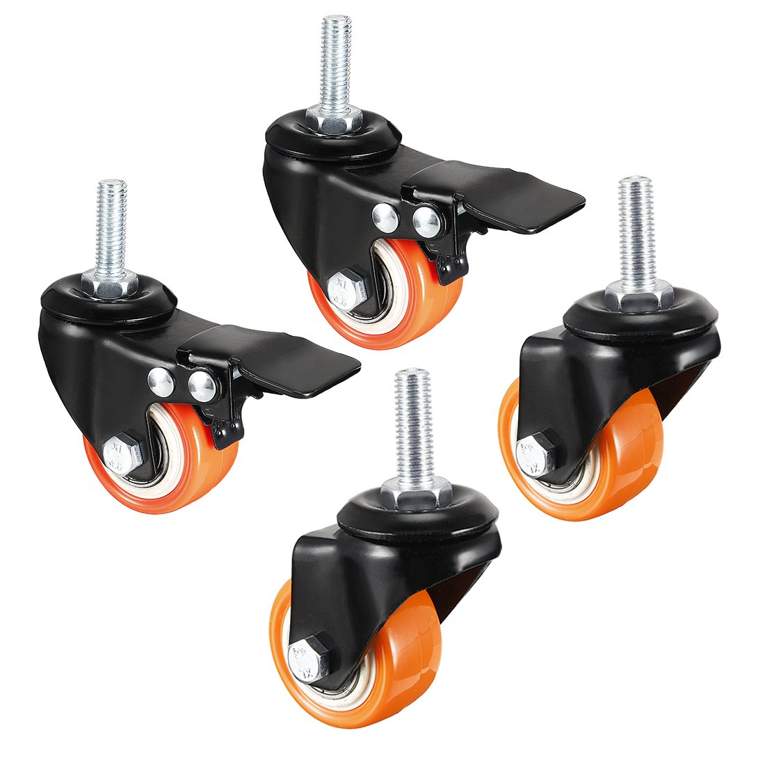 uxcell 1.5 Inch Swivel Caster Wheels PU 360 Degree Threaded Stem Caster Wheel M10 x 25mm 330lb Total Load Capacity Pack of 4 2 Pcs with Brake 2 Pcs No Brake